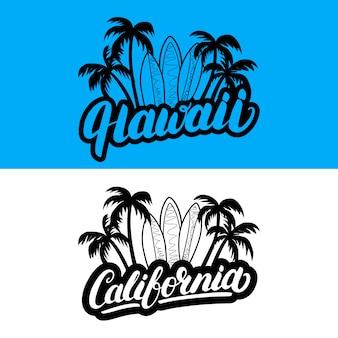 Havaí e califórnia mão escrito texto