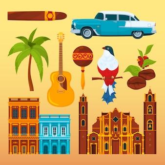 Havana charuto e outros diferentes objetos culturais e símbolos de cuba