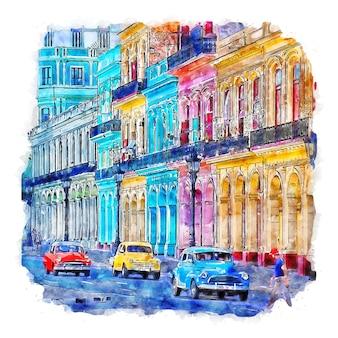 Havana cuba esboço em aquarela ilustração desenhada à mão