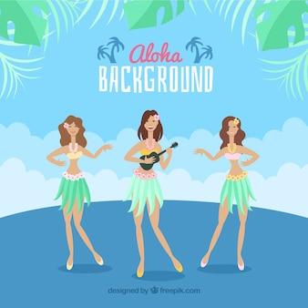 Hawaian dancers aloha background