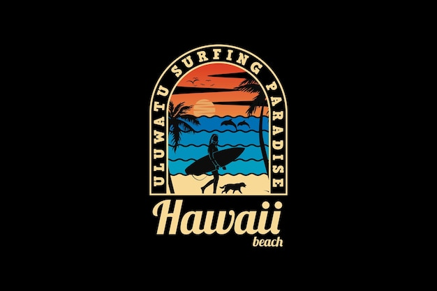 .hawaii beach, design silhueta retro style.
