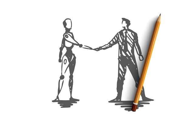 Hci, automação, negócios, ciborgue, conceito de cooperação. esboço de conceito de mão desenhada humano e robô apertando as mãos.