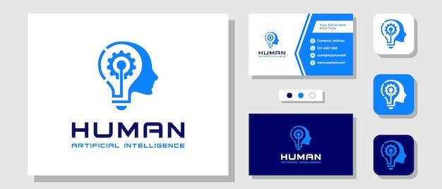 Head brain lamp engrenagem mente lâmpada ideia inovação logo design com layout modelo cartão de visita