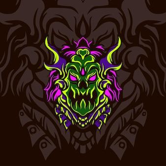 Head green monster para jogos de mascote de logotipo ou outro