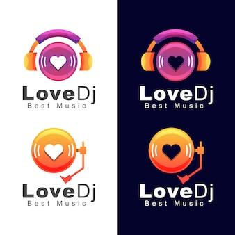 Headphone love dj music logo, melhor modelo de design de logotipo de música de som