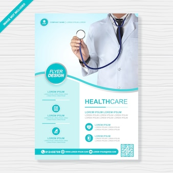 Healthcare and medical cover modelo de design de folheto a4