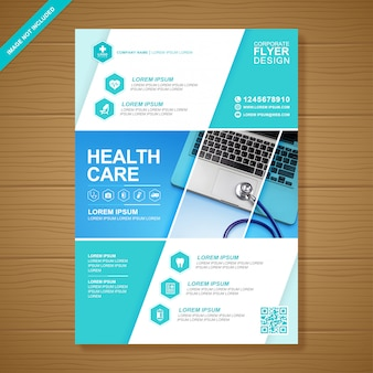Healthcare and medical cover modelo de design de folheto a4