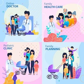 Healthcare lettering flat template set
