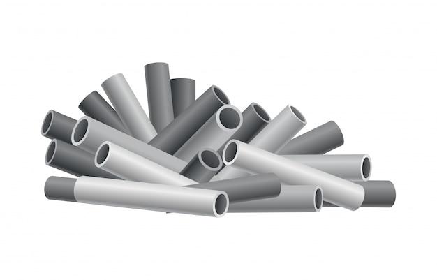 Heap material de construção. montão de canos, cano. ilustração