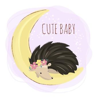 Hedgehog bonito animal da floresta dos desenhos animados
