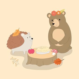 Hedgehog bonito dos desenhos animados e urso na floresta