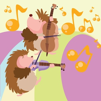 Hedgehog play music cartoon illustration
