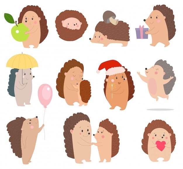 Hedgehog vector cartoon espinhoso animal personagem com coração ou balão no conjunto de ilustração de vida selvagem natureza de ouriço-tenrec no aniversário ou no natal isolado no branco