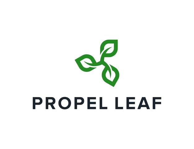 Hélice com folhas simples, elegante, criativo, geométrico, moderno, design de logotipo