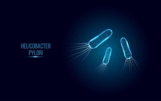 Helicobacter pylori. estilo wireframe low poly.