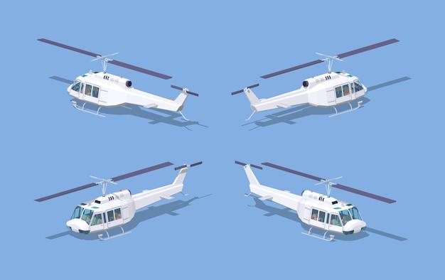 Helicóptero branco baixo poli