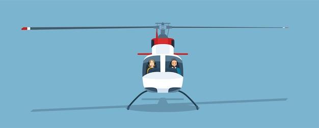 Helicóptero com casal dentro de ilustração de estilo simples