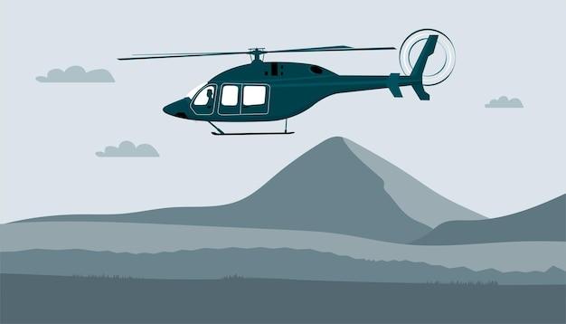 Helicóptero com o piloto voa contra o fundo de uma paisagem abstrata
