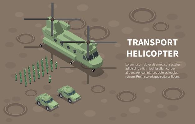 Helicóptero da força aérea militar, tropas de transporte de utilitários, carga, ilustração isométrica com veículos terrestres do regimento de infantaria