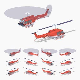 Helicóptero de fogo baixo poli