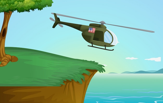 Helicóptero do exército na natureza