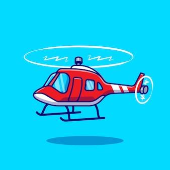 Helicóptero dos desenhos animados do vetor ícone ilustração transporte aéreo ícone conceito isolado vetor. estilo flat cartoon