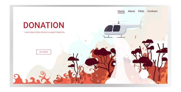 Helicóptero extingue incêndio violento perigoso na austrália combate a incêndios madeiras secas árvores firefighting conceito de desastre natural intenso alaranjado chamas cópia horizontal
