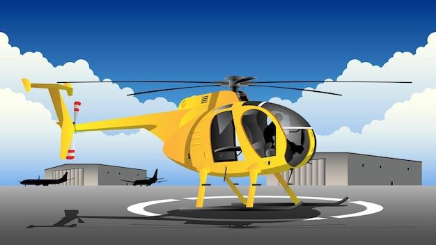 Helicóptero no campo de aviação com ilustração do fundo do hangar