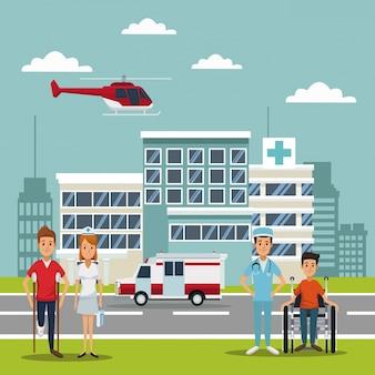 Helicóptero que voa sobre a cabeça e pacientes com médicos especialistas