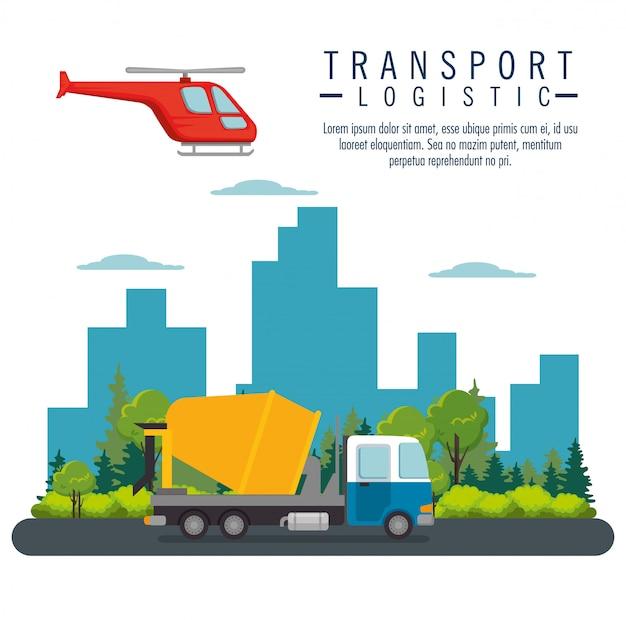 Helicóptero voando e transporte de caminhão