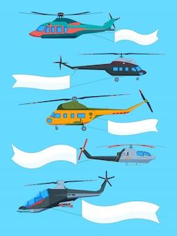 Helicópteros voando com banners. publicidade em banners no transporte aéreo