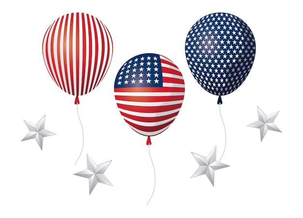 Hélio de balões da bandeira americana do estado unidos com decoração de estrelas