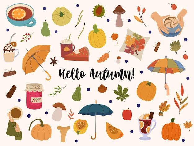 Hello autumn vector design elementsfalling leavescozy foodumbrellateamulled winepumpkins