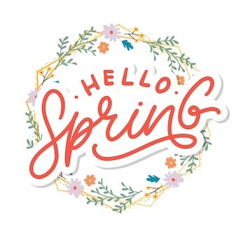 Hello spring flowers text background frame slogan