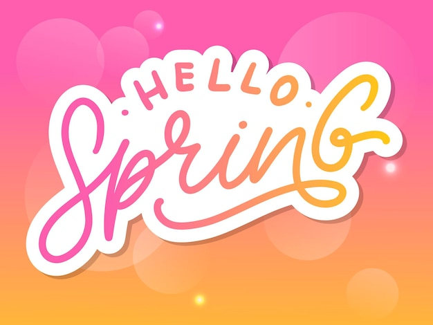 Hello spring flowers text lettering slogan
