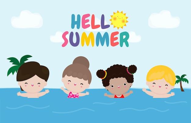Hello summer template crianças nadando nas ondas grupo de crianças se divertindo no desenho animado da praia
