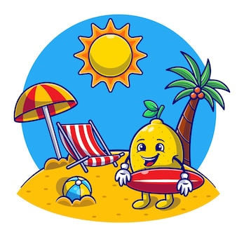 Hello summer with beach, cute lemon segura uma prancha de surf