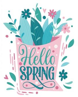 Helo spring - lindas letras de primavera, ótimo design para qualquer finalidade.