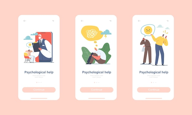 Helpline de psicoterapia, modelo de tela a bordo da página do aplicativo móvel de consulta online. doutor psicólogo personagem na tela do celular tem o conceito de nomeação distante. ilustração em vetor desenho animado