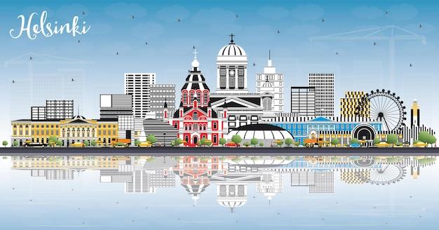 Helsinque finlândia skyline da cidade com edifícios coloridos, céu azul e reflexos