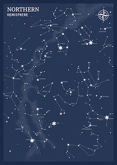 Hemisfério norte. mapa estelar de constelações