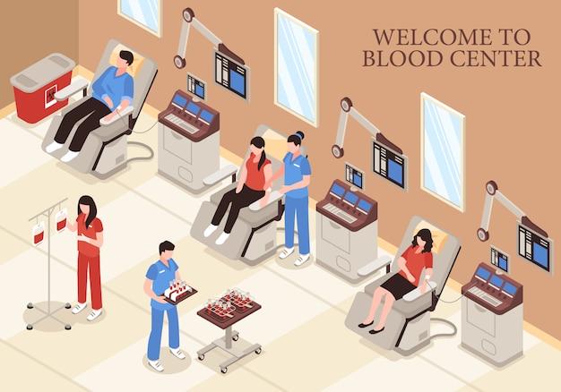 Hemocentro com doadores em cadeiras modernas tecnologias médicas e ilustração isométrica de equipe de profissionais