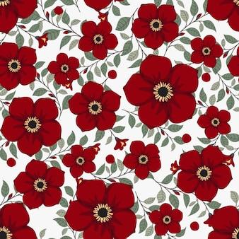 Hera de grinalda de flores vermelhas com ramo e folhas, padrão sem emenda