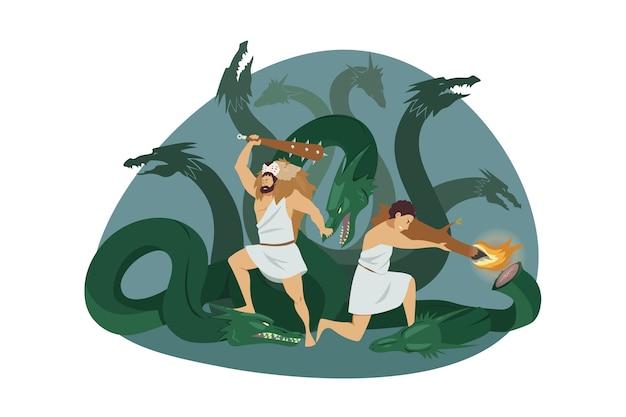 Heracles semideus ou hércules filho de zeus com o cocheiro iolaus lutando contra hidra de lerna como segundo trabalho de hércules