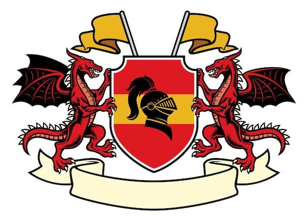 Heráldica do dragão em estilo clássico de brasão