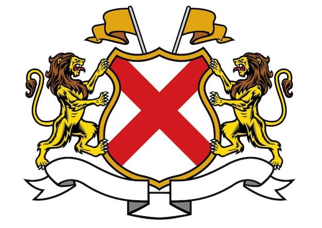 Heráldica do leão em estilo clássico de brasão
