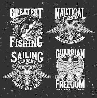Heráldica náutica, âncora e águia, emblemas marinhos do clube de pesca. crachás heráldicos do clube de pesca com peixes no anzol, sinais da união náutica do mar e do oceano com águia de duas cabeças com slogan patriótico