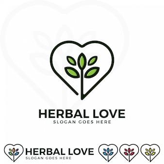 Herbal love logo ilustração