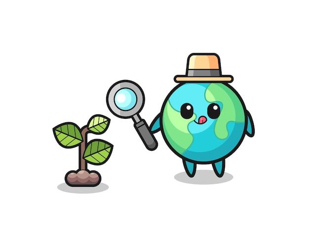 Herbalista de terra fofa pesquisando plantas, design fofo