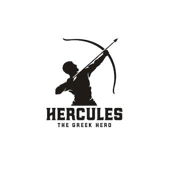 Hércules heracles com arco arco de flecha, mito muscular grego arqueiro guerreiro silhueta logotipo design